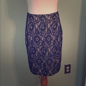 NWT nude & black lace skirt